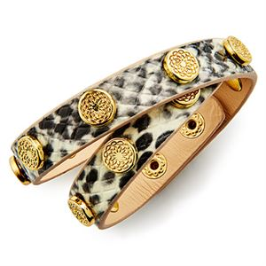 Picture of Snakeskin Leather Gold Studs